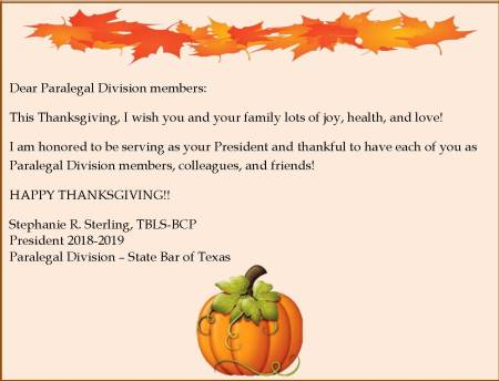 Thanksgiving message to membership