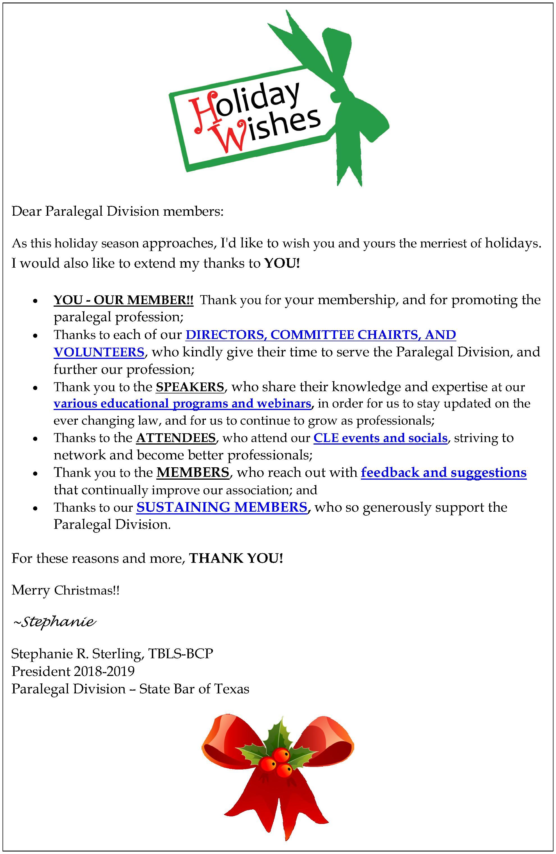 Holiday gratitude message to membership