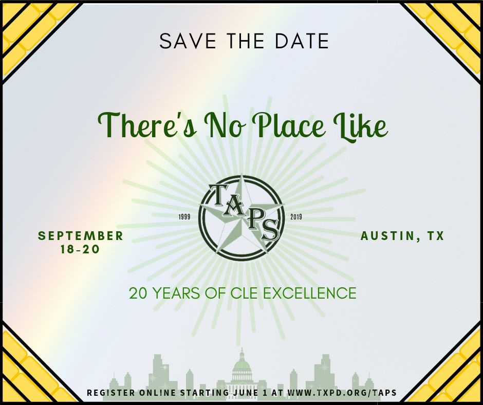 TAPS 2019 Save the Date Flyer